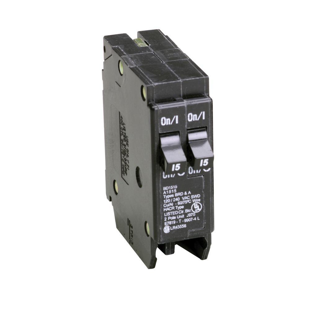 eaton bd 2 15 amp single pole tandem ctl circuit breaker bd1515 rh homedepot com