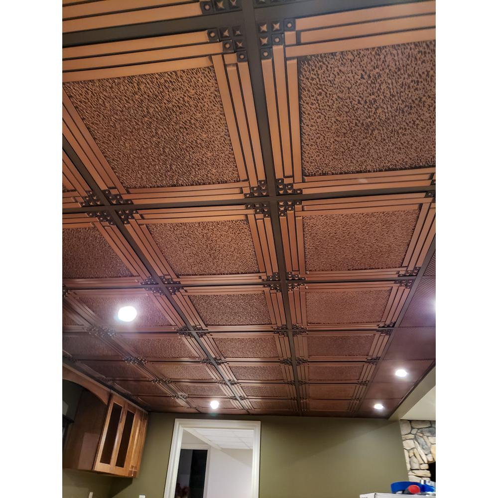 Udecor Genoa 2 Ft X 2 Ft Lay In Or Glue Up Ceiling Tile In Antique Copper 48 Sq Ft Case Ct 209 Ac The Home Depot