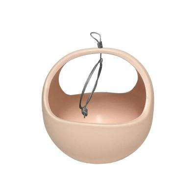 Basket 4-1/2 in. x 4-1/2 in. Coral Ceramic Hanging Planter