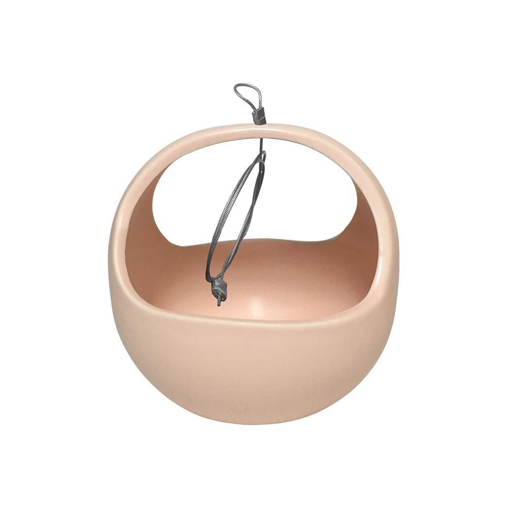 Basket 4-1/2 in. x 4-1/2 in. Coral Ceramic Hanging Planter
