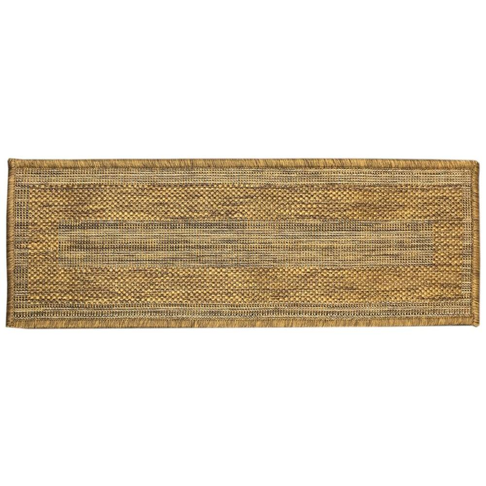 Berrnour Home Summer Collection Bordered Design Brown 9 In. X 26 In. Indoor/