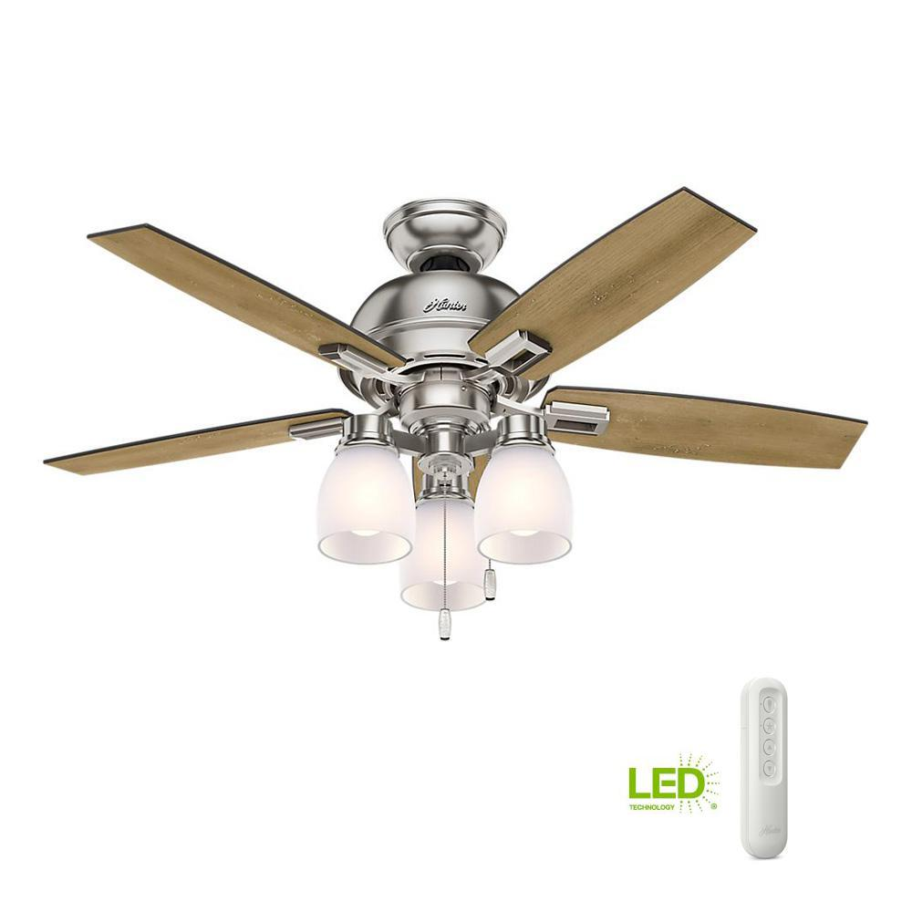 Donegan 44 in. LED 3-Light Indoor Brushed Nickel Ceiling Fan with