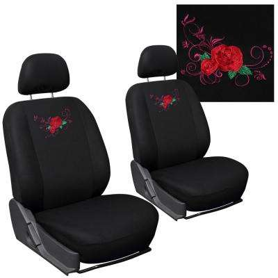 Polyester Seat Covers Set 24 in. L x 21 in. W x 40 in. H 6-Piece Embroidered Red Rose Detachable Bucket Seat Cover Set