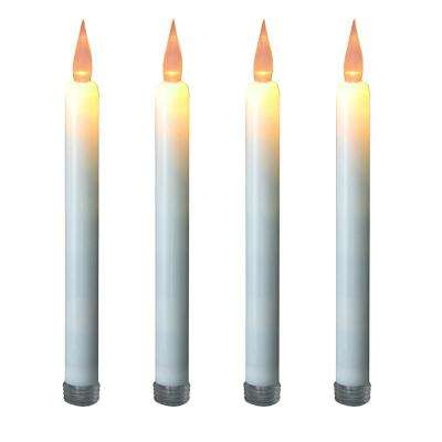 Flameless 9.25 in. Off White with Amber Glow Plastic Tapered Candles (4 Count)