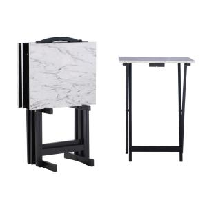 Deals on Linon Home Decor White Faux Marble Folding Tray Table