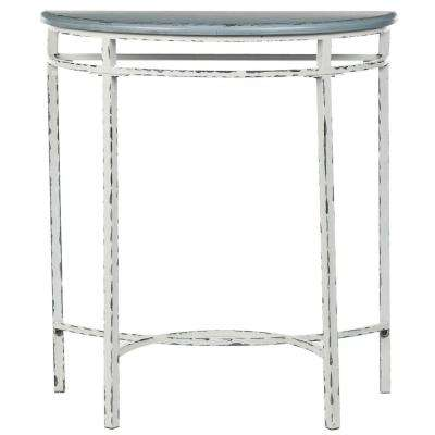 Lee Ann Distressed White and Blue Console Table