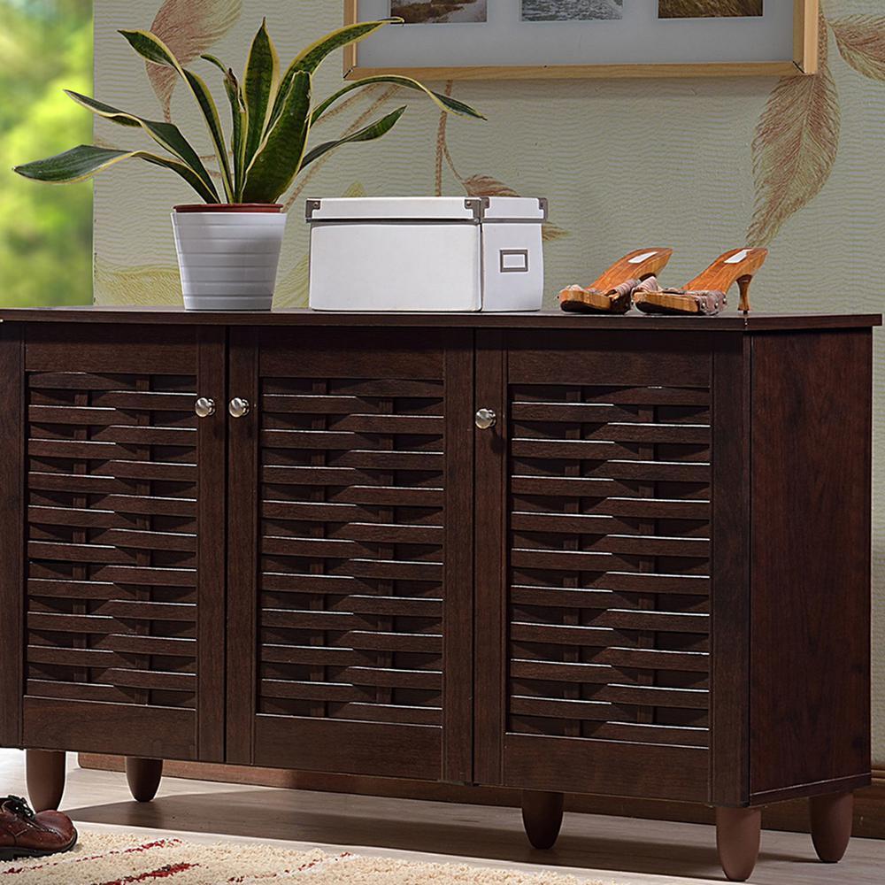 Winda Dark Brown Wood Wide Storage Cabinet