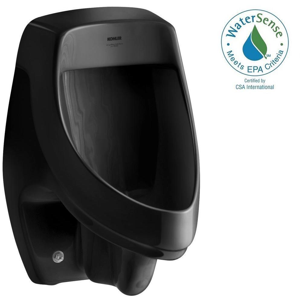 KOHLER Dexter 0.5 or 1.0 GPF Urinal with Rear Spud in Black Black