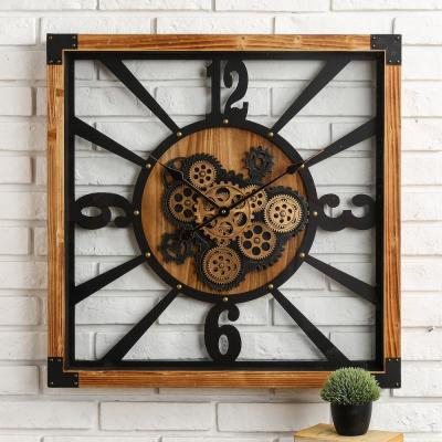 27.17 in. D Industrial Wooden/Metal Square Gear Wall Clock