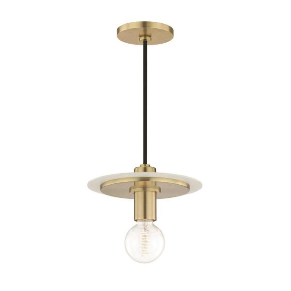 Milo 1-Light Aged Brass Small Pendant with White Accents