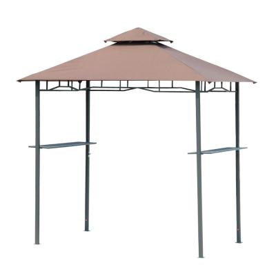 5 ft. x 8 ft. Beige Patio Double-tier BBQ Grill Canopy Tent with Flame Retardant Cover Work Surface & Stylish Utility