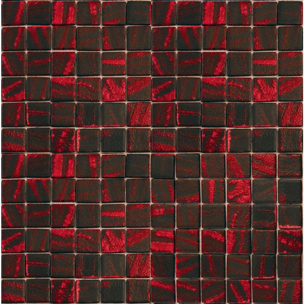 Epoch Architectural Surfaces Metalz Manganese-1014 Mosiac Recycled Glass Mesh Mounted Floor and Wall Tile -3 in. x 3 in. Tile Sample