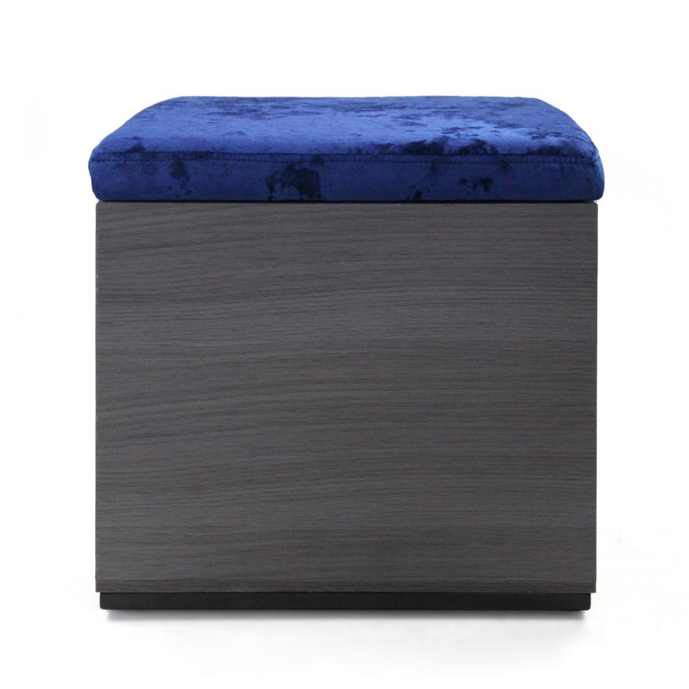 Bateau Modern Glam Navy-Blue Velvet and Dark Gray Faux Wood Storage Ottoman