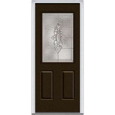 32 in. x 80 in. Heirlooms Right-Hand Inswing 1/2-Lite Decorative Painted Fiberglass Smooth Prehung Front Door
