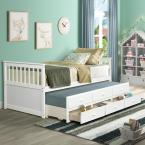 White Twin Platform Bed with Trundle and Drawers