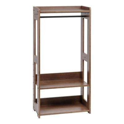 Brown Compact Wood Garment Rack