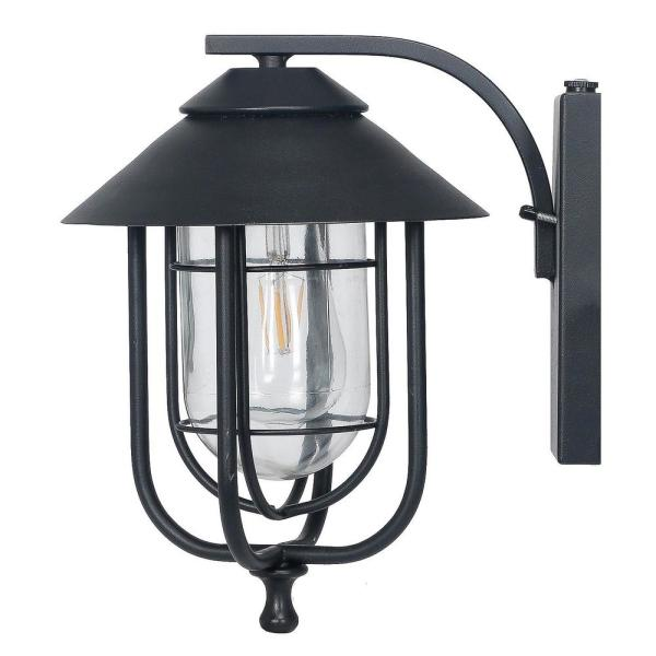 Honeywell 1 Light Black Integrated Led Outdoor Round Wall Sconce With Dusk To Dawn Sensor Ss01gg010800 The Home Depot