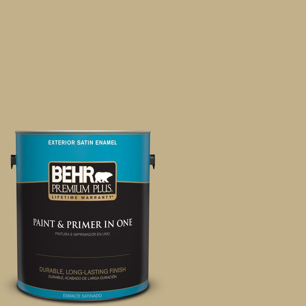BEHR Premium Plus 1-gal. #380F-5 Harmonic Tan Satin Enamel Exterior Paint