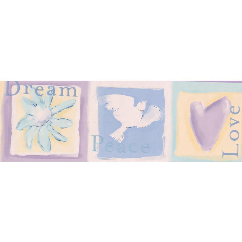 Dove Heart Flower Butterfly Yellow Blue Purple Prepasted Wallpaper Border