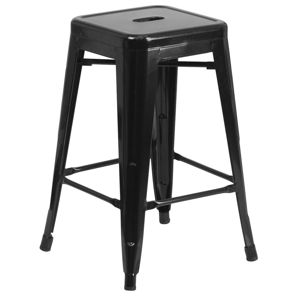 24 in. Black Bar Stool