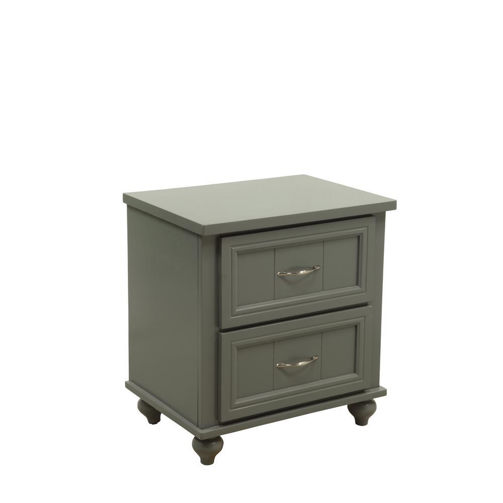 Furniture of America Cara 2-Draw Gray Nightstand IDF-7322GY-N
