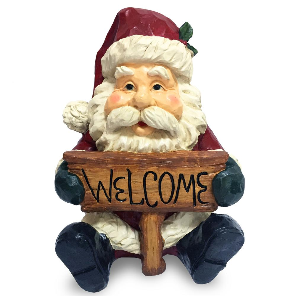 16 in. Santa Clause Holding Welcome Sign