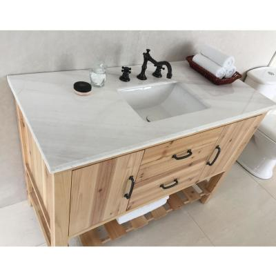 Venice 48 in. W x 22 in. D x 36 in. H Single Vanity in Natural with Marble Vanity Top in Jazz White with White Basin