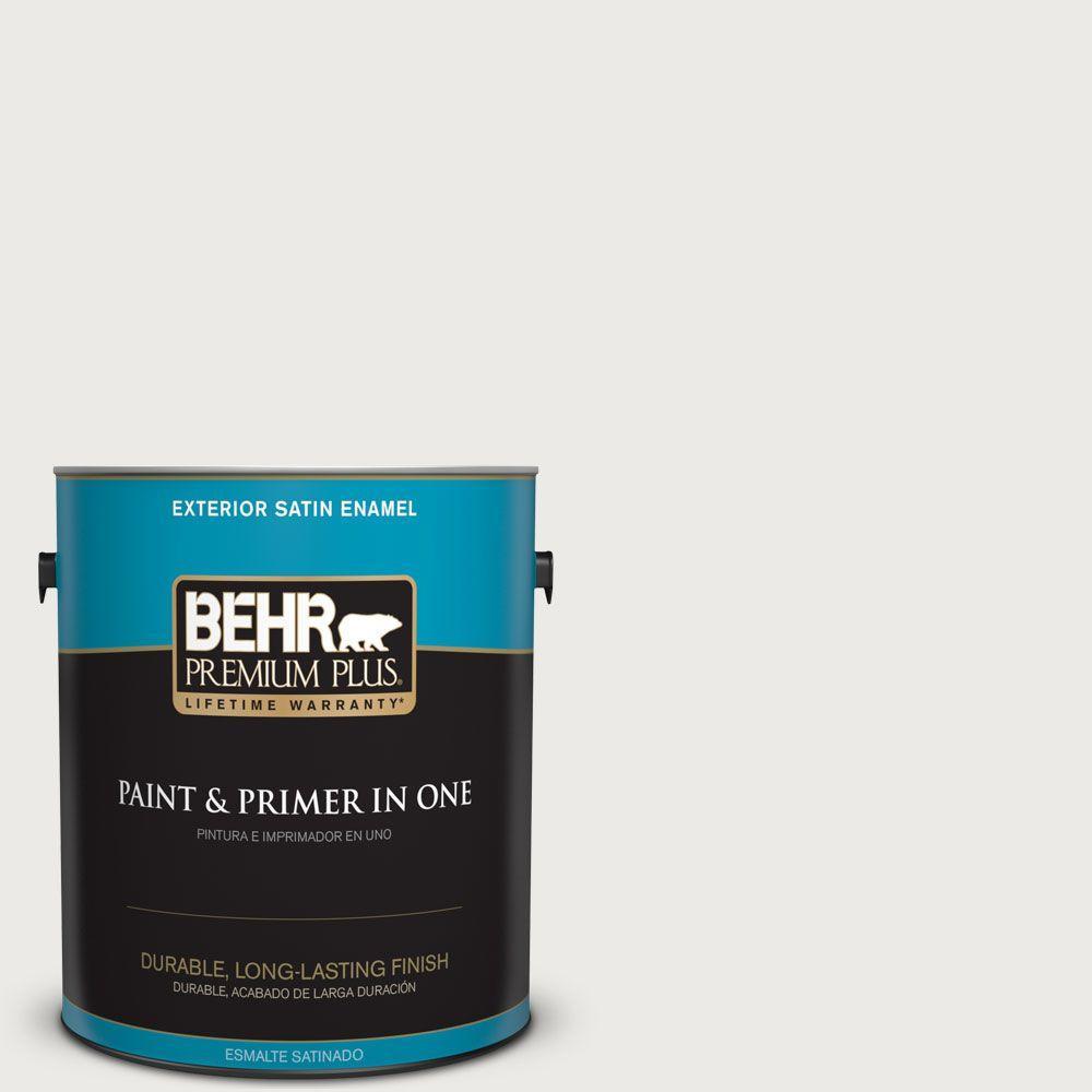 BEHR Premium Plus 1 gal. #52 White Satin Enamel Exterior Paint