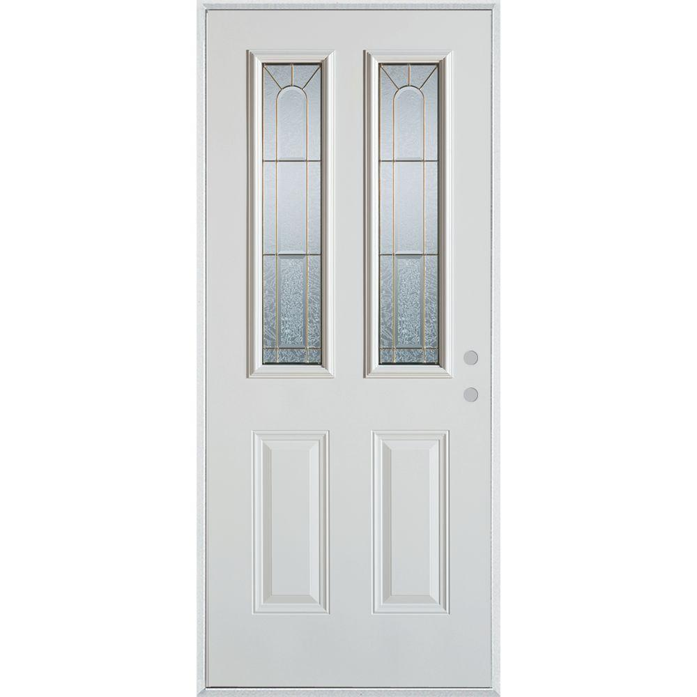 Stanley Doors 32 In X 80 In Geometric Brass 2 Lite 2 Panel Painted