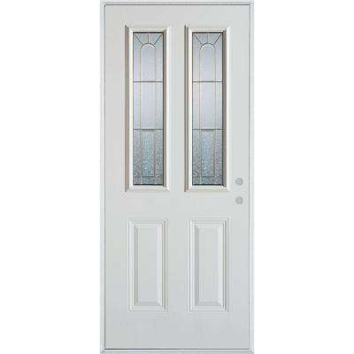 32 in. x 80 in. Geometric Brass 2 Lite 2-Panel Painted White Left-Hand Inswing Steel Prehung Front Door