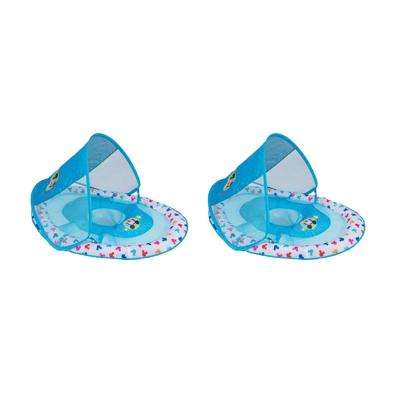 Mickey Mouse Blue Inflatable Infant Baby Pool Float with Canopy (2-Pack)