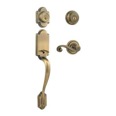 Arlington Antique Brass Double Cylinder Door Handleset with Lido Lever Featuring SmartKey Security