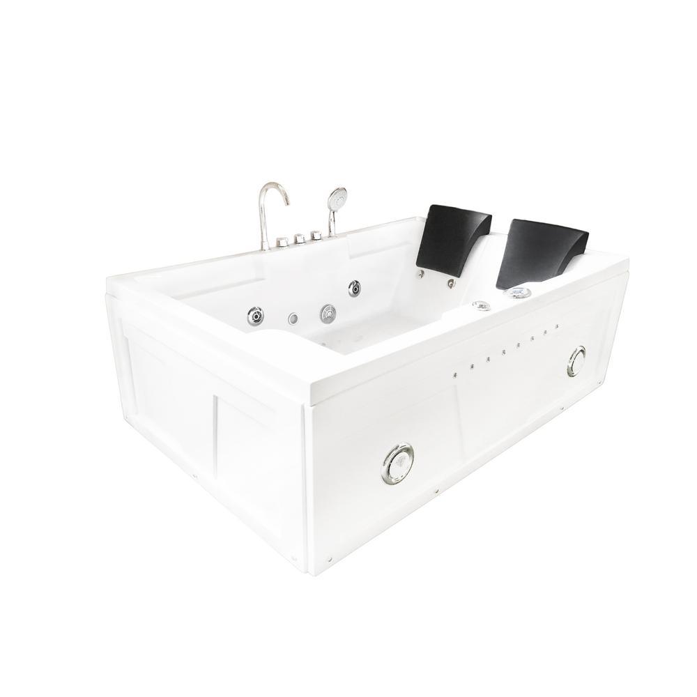 Yellowstone 71 in. Acrylic Center Drain Rectangular Alcove Whirlpool Bathtub in White