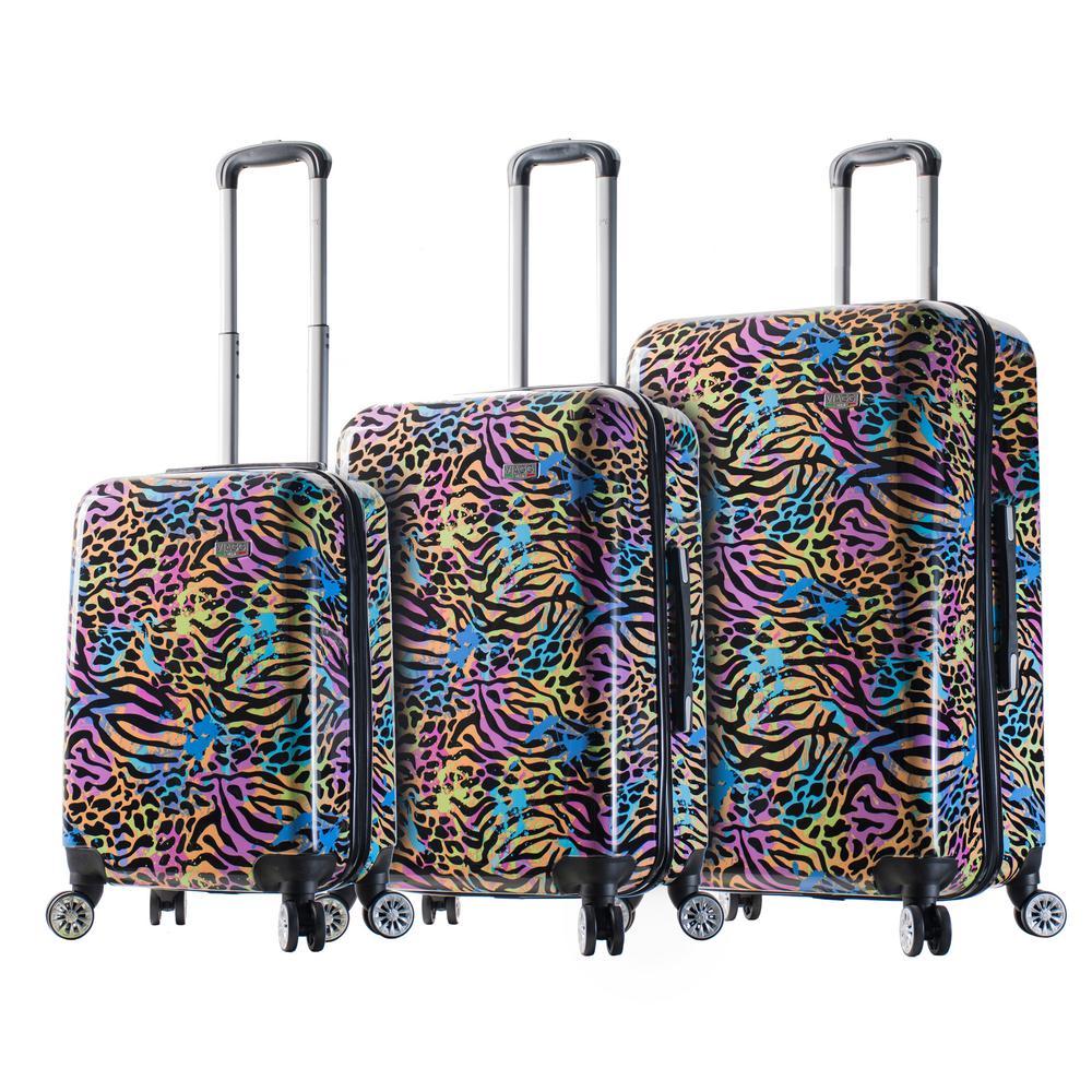 Designer Art 3-Piece Pop Animal Hardside Spinner Luggage Set