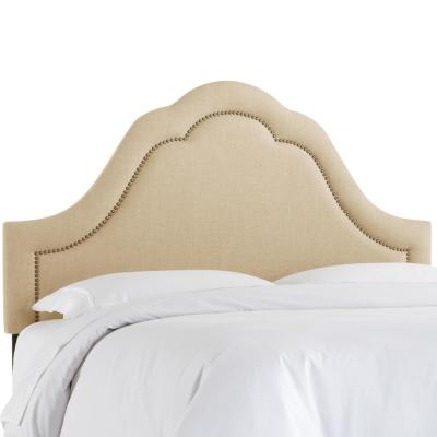 Max Linen Sandstone California King Arch Inset Headboard with Brass Nail Buttons