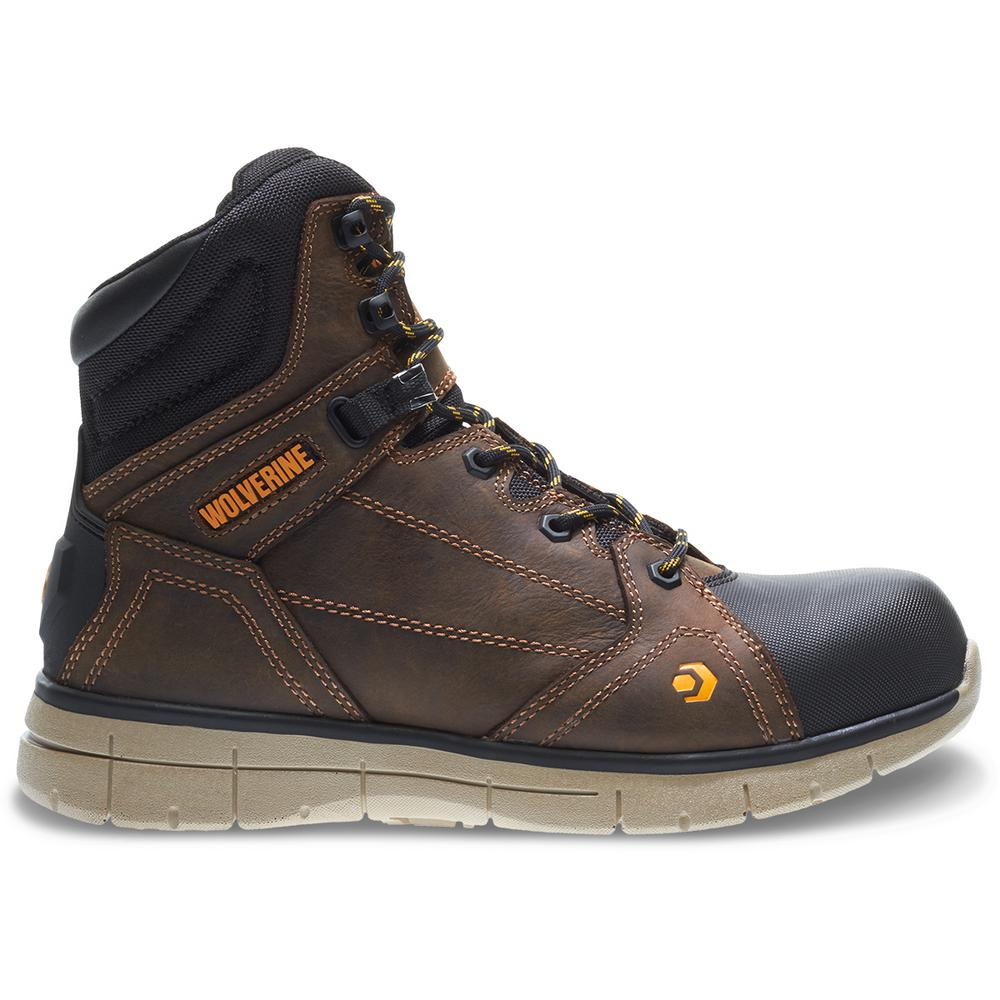 "Wolverine Men's Rigger 8.5M Brown Full-Grain Leather Waterproof Composite Toe 6"" Boot"