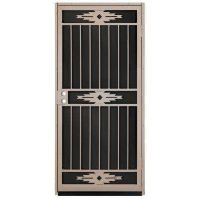 36 in. x 80 in. Pima Tan Surface Mount Outswing Steel Security Door with Black Perforated Aluminum Screen