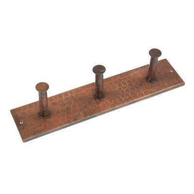 Hand Hammered Copper Triple Robe Hook in Oil Rubbed Bronze