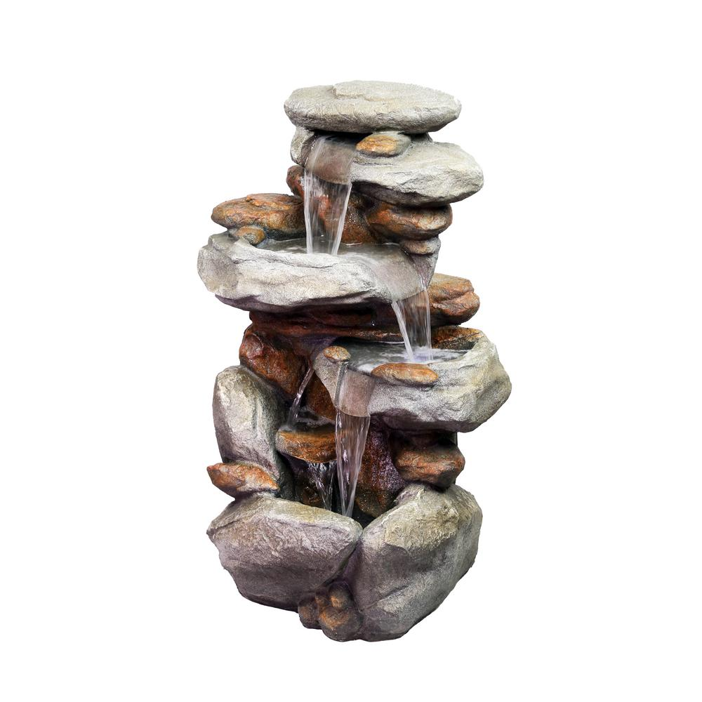 Alpine Corporation 40 In Tall 4 Tiered Rock Fountain With Led Lights