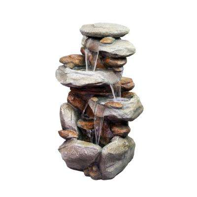40 in. Tall 4-Tiered Rock Fountain with LED Lights