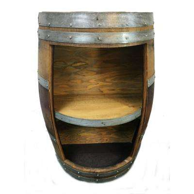 13 in. D 26 in. W 36 in. H 30-Bottle Lacquer Split Wine Barrel Shelf Stand
