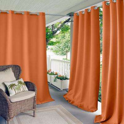 Connor 52 in. W x 84 in. L Indoor/Outdoor Solid Grommet Window Curtain Orange