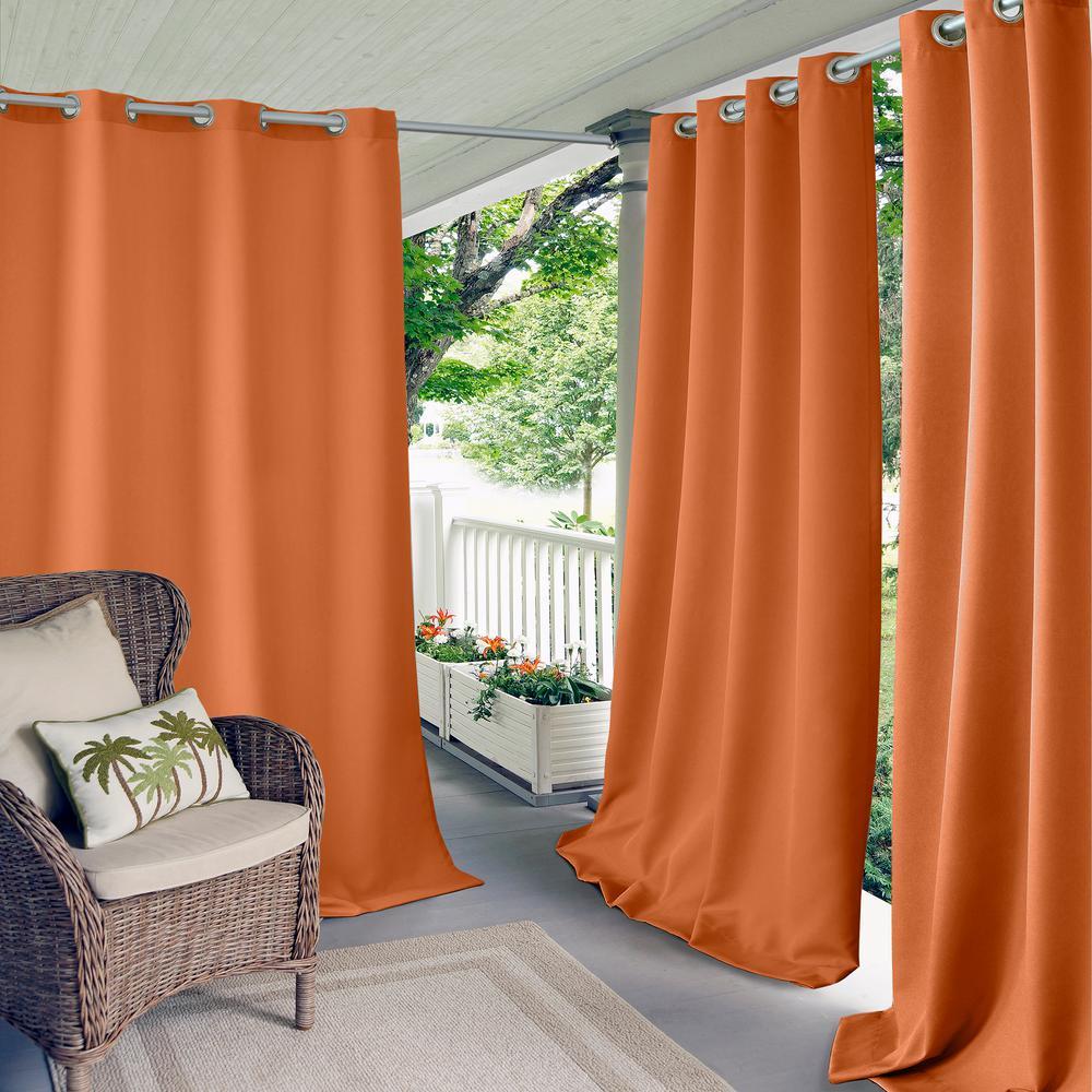 Connor 52 in. W x 108 in. L Indoor/Outdoor Solid Grommet Window Curtain Orange