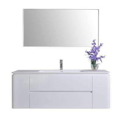 Gwyneth 55 in. W x 18 in. D Vanity in White with Solid Surface Vanity Top in White with White Basin and Mirror