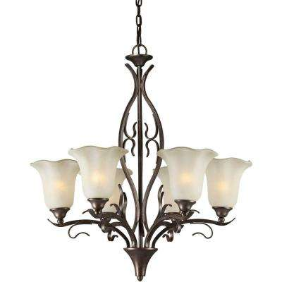 6-Light Black Cherry Bronze Chandelier with Umber Glass Shade