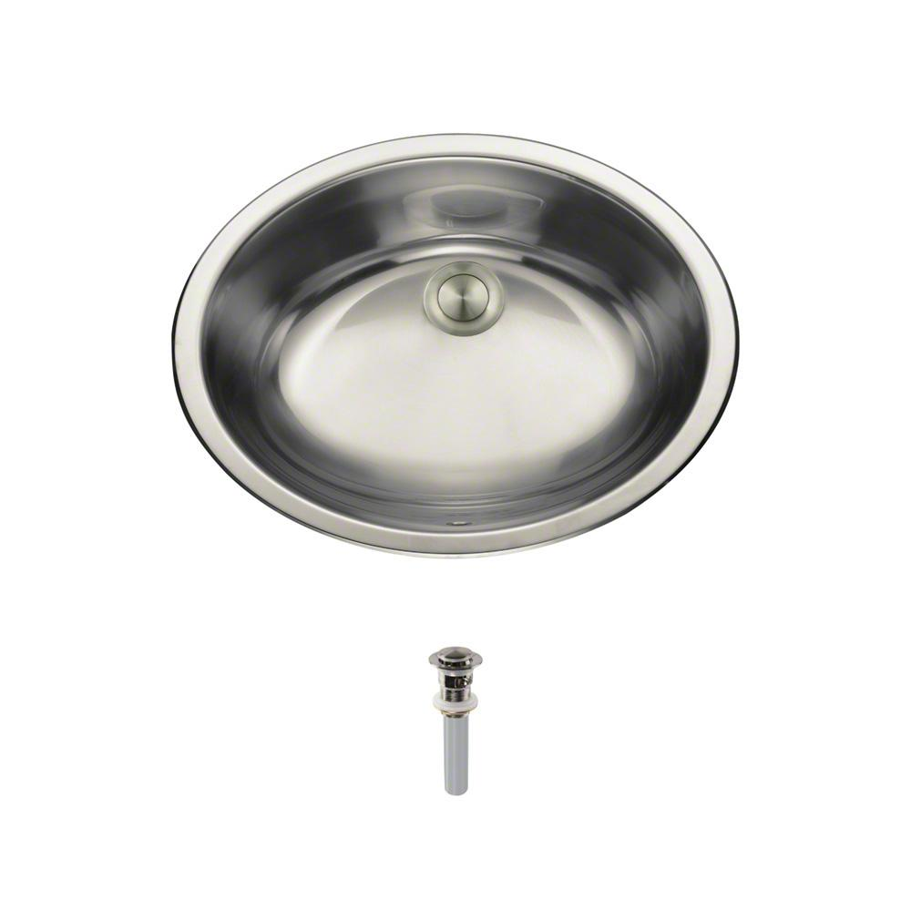 Dual-Mount Bathroom Sink in Stainless Steel with Pop-Up Drain in Brushed