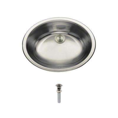 Dual-Mount Bathroom Sink in Stainless Steel with Pop-Up Drain in Brushed Nickel