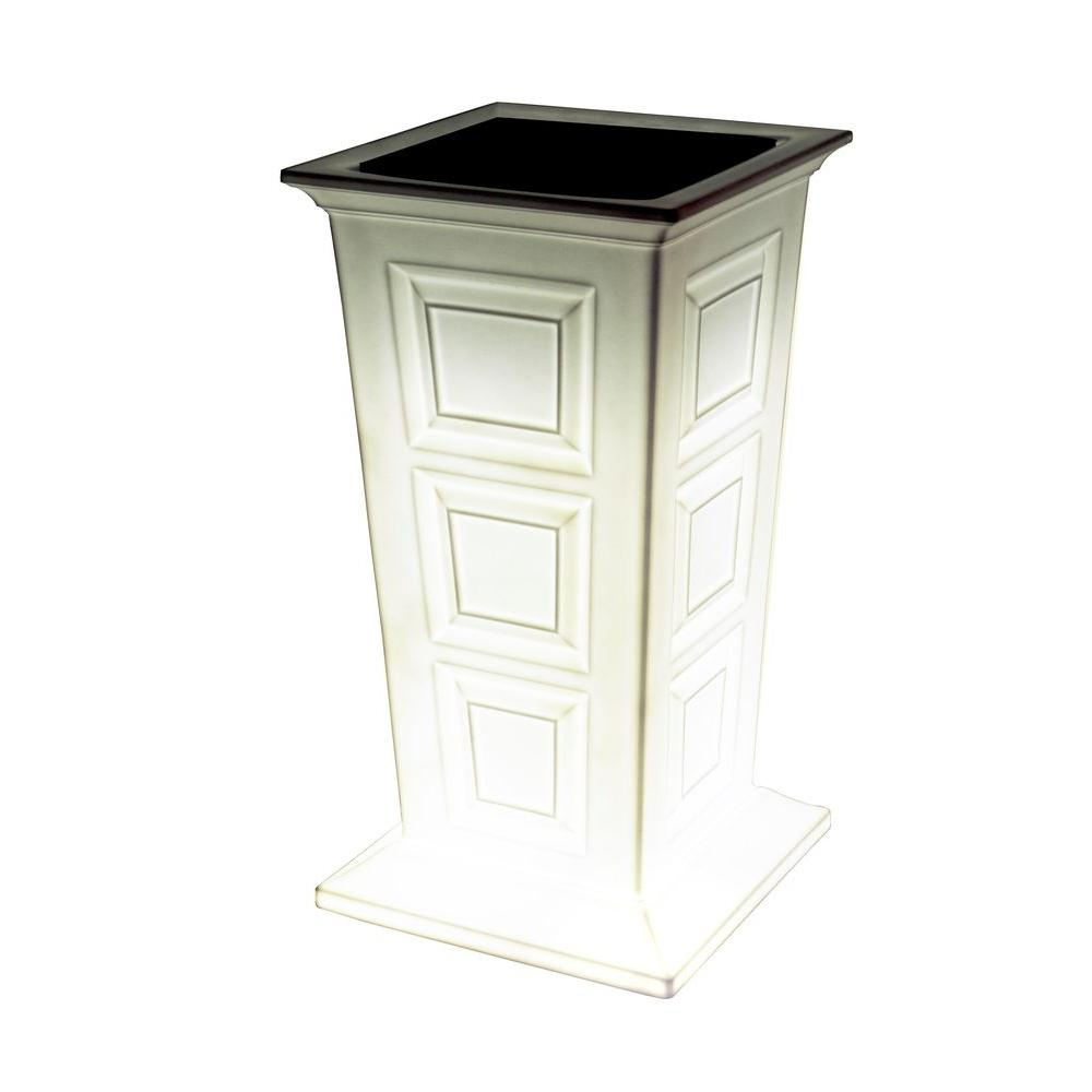 Good Ideas Savannah 16 in. Square White Poly-Resin Column Planter with LED