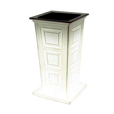 Savannah 16 in. Square White Poly-Resin Column Planter with LED