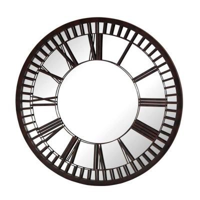 39 in. Dia Round Garden Mirror with Roman Numerals Brown